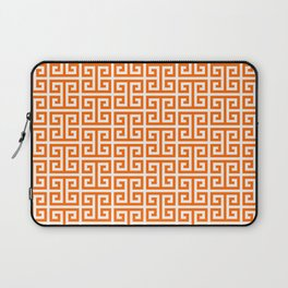Orange and White Greek Key Pattern Laptop Sleeve