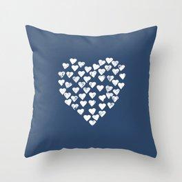 Distress Hearts Heart Navy Throw Pillow