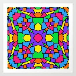Rainbow Mosaic Symmetrical Kaleidoscope 2 Art Print