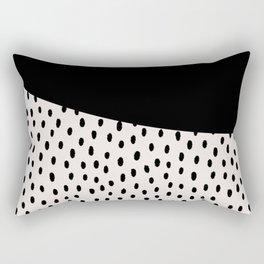 Modern geometrical black ivory paint  brushstrokes Rectangular Pillow