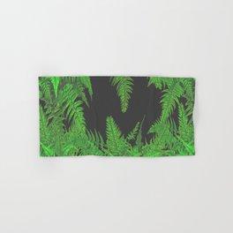 DECORATIVE CHARCOAL GREY GREEN FERNS GARDEN ART Hand & Bath Towel
