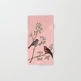 Peaceful harmony in the cherry tree - Illustration Hand & Bath Towel