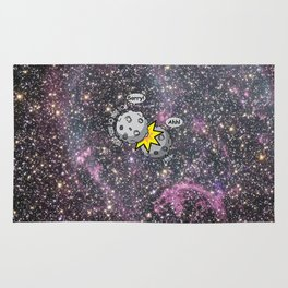 I never meant to hurt you - meteor collision in space cartoon Rug