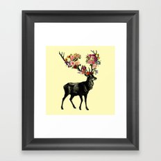 Spring Itself Deer Floral (Cream) Framed Art Print