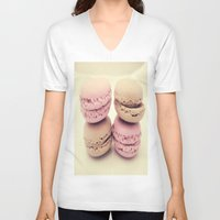 macaroons V-neck T-shirts featuring macaroons by  Alexia Miles photography