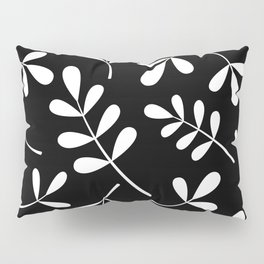 White on Black Assorted Leaf Silhouettes Pillow Sham