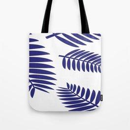 Blue Leaves Ferns Pattern Tote Bag