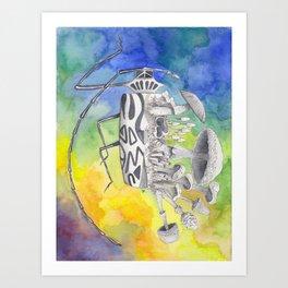 What is life? What is Death? n°9 Harlequin Beetle / Mushroom Watercolor Painting Art Print