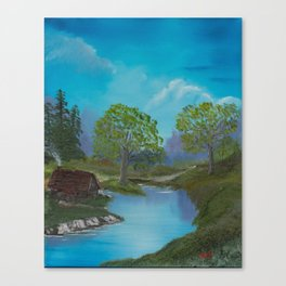 Cabin by stream Canvas Print