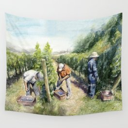 Vineyard Watercolor Landscape Wine Grapes Nature Wall Tapestry