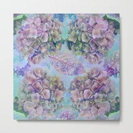 Watercolor hydrangeas and leaves Metal Print