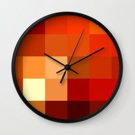 BLOCKS - RED TONES - 1 Wall Clock