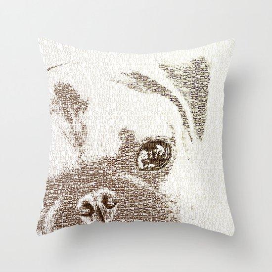The Intellectual Pug Throw Pillow