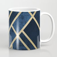 deco Mugs featuring Art Deco Midnight by Elisabeth Fredriksson