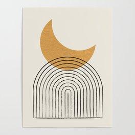 Moon mountain gold - Mid century style Poster