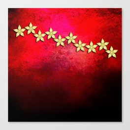 Spectacular gold flowers in red and black grunge texture Canvas Print