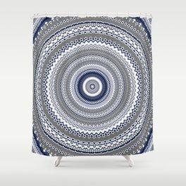 Navy Blue Grey Bohemian Mandala Shower Curtain