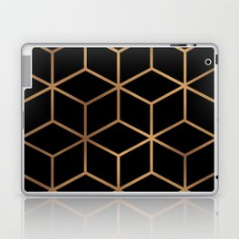 Black and Gold - Geometric Cube Design Laptop & iPad Skin