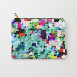 geometric square pixel pattern abstract in green pink blue yellow Carry-All Pouch