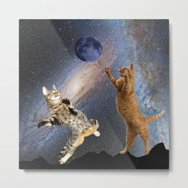 Cats Catching the Moon Metal Print