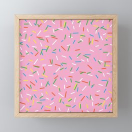 Pink Birthday Cake Sprinkles Framed Mini Art Print