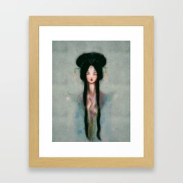 Meditation Pastel Serenity Chinese Goddess of Mercy Kuan Yin Watercolor peaceful blue oil painting Framed Art Print