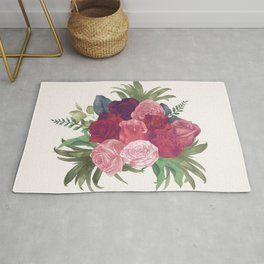 Pink Flowers Painting Rug