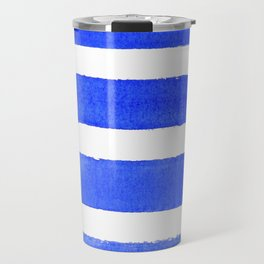 Watercolor Stripes of Blue Travel Mug