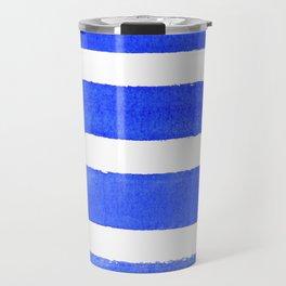 Watercolor Stripes of Blue Travel Mug
