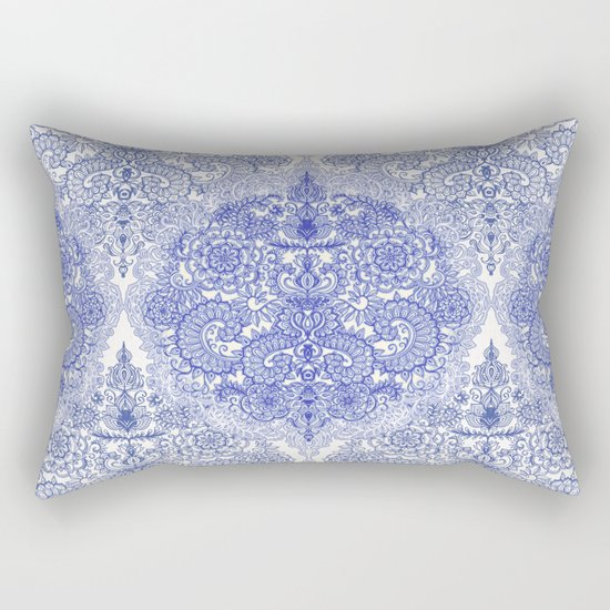 Happy Place Doodle in Cornflower Blue, White & Grey Rectangular Pillow