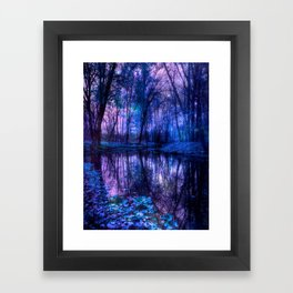 Enchanted Forest Lake Purple Blue Framed Art Print