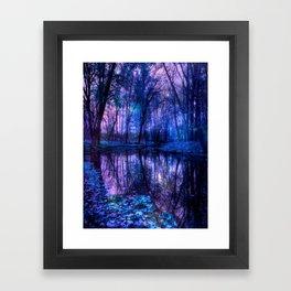 Enchanted Forest Lake Purple Blue Framed Art Print