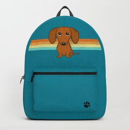 Cute Dachshund   Cartoon Wiener Dog Backpack