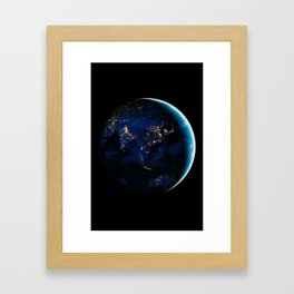 Asia and Australia At Night, Earth From Space, Planet Earth, Space Background, Wall Art Decor Framed Art Print