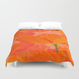 Beautiful Poppies Coral Color Background #decor #society6 #buyart Duvet Cover