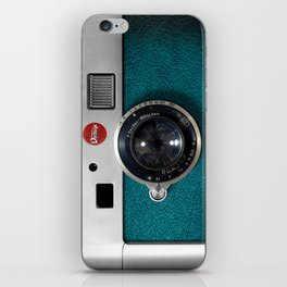 Blue Teal retro vintage camera with germany lens iPhone Skin