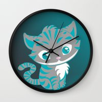 cheshire Wall Clocks featuring Cheshire Cat by Pixelowska