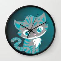 cheshire cat Wall Clocks featuring Cheshire Cat by Pixelowska