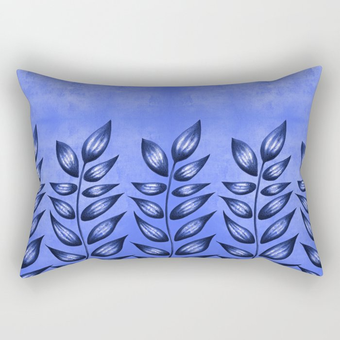 Blue Plant With Pointy Leaves Rectangular Pillow