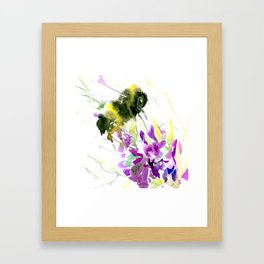 Bumblebee and Flowers floral bee design Framed Art Print