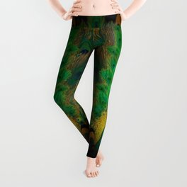 """""""Emerald and black peacock"""" Leggings"""