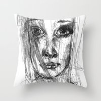 leah flores Throw Pillows featuring LEAH by EDEN