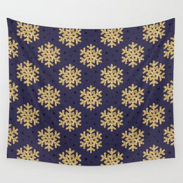 Gold Snowflakes and Black Polka Dots Seamless Pattern on Navy Blue Purle Wall Tapestry
