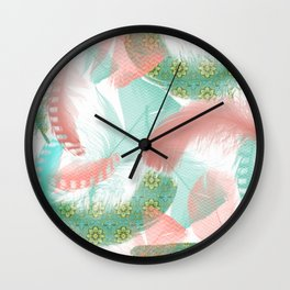 Pastel Feathers Wall Clock