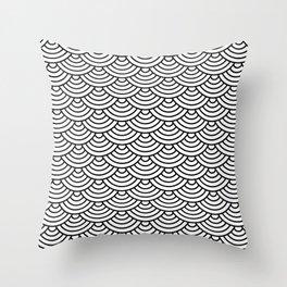 Black Japanese wave pattern Throw Pillow