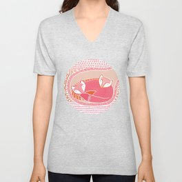 Sleepy Happy Foxes Unisex V-Neck