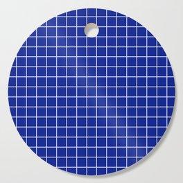 Indigo dye - blue color - White Lines Grid Pattern Cutting Board