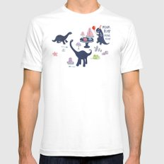 Dinosaur Jello Debutante Party SMALL White Mens Fitted Tee