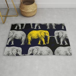 Silver & Gold Elephants Rug