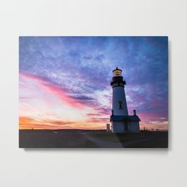 New Years Eve 2017 Sunset at Yaquina Head Lighthouse Metal Print